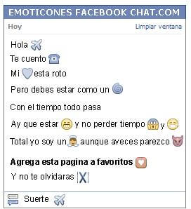 Conversacion con Emoticon avion para Facebook