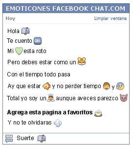Conversacion con Emoticon buzon abierto para Facebook