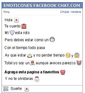 Conversacion con Emoticon carta de diamante para Facebook