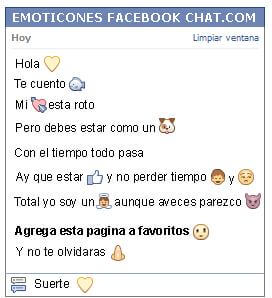 Conversacion con Emoticon corazon amarillo para Facebook