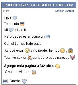 Conversacion con Emoticon corazon azul para Facebook