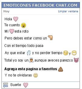 Conversacion con Emoticon corazon lila para Facebook