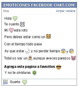 Conversacion con Emoticon corazon verde para Facebook