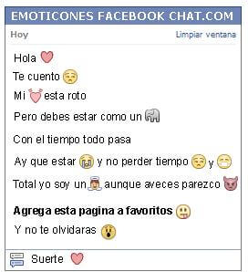Conversacion con Emoticon corazon para Facebook