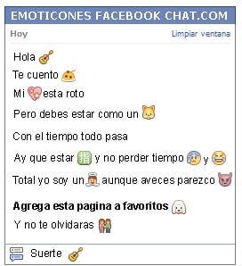 Conversacion con Emoticon guitarra para Facebook