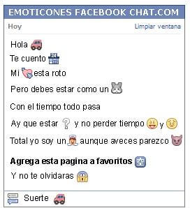 Conversacion con Emoticon jeep para Facebook