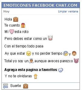Conversacion con Emoticon maletin para Facebook