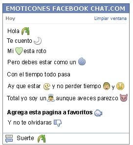 Conversacion con Emoticon naturaleza para Facebook