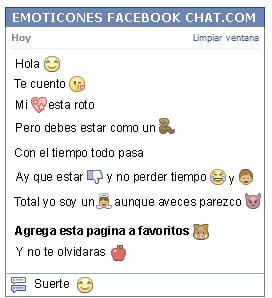Conversacion con Emoticon ojos felices para Facebook