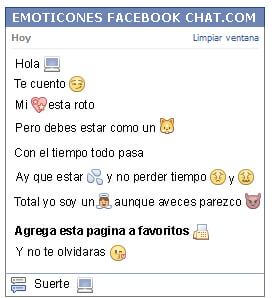 Conversacion con Emoticon pc para Facebook