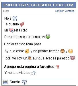 Conversacion con Emoticon perdon para Facebook
