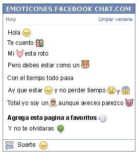 Conversacion con Emoticon puchero para Facebook