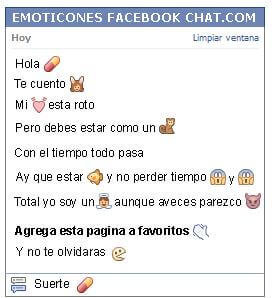 Conversacion con Emoticon remedio en capsula para Facebook