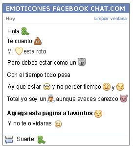 Conversacion con Emoticon serpiente para Facebook