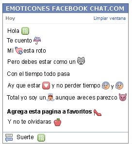 Conversacion con Emoticon simbolo chino direccion para Facebook