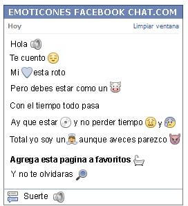 Conversacion con Emoticon volumen para Facebook